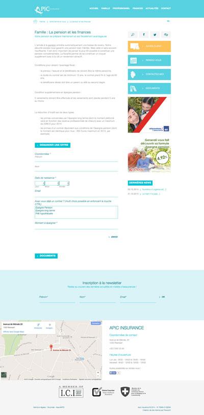 Apic Insurance et Cap G - site web responsive page produit par Pixiwooh!