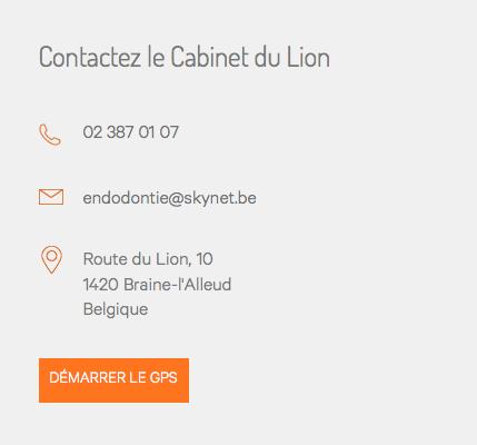 Cabinet du lion - site web partie coordonnées par Pixiwooh!