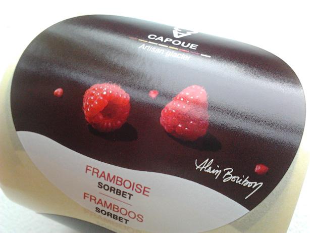 Capoue - étiquette packaging sorbet framboise par Pixiwooh!