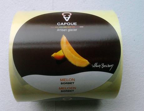 Capoue - étiquette packaging sorbet melon par Pixiwooh!
