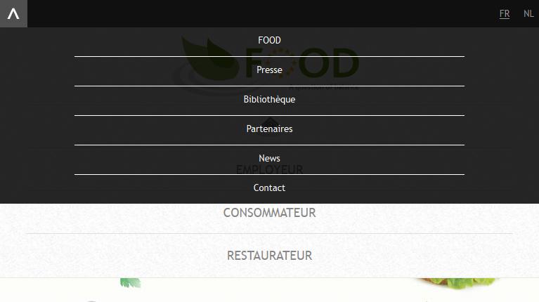Food Program d'Edenred - développement web responsive menu par Pixiwooh!