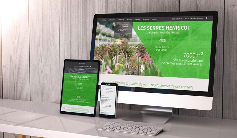 Les Serres Henricot - site web responsive par Pixiwooh!
