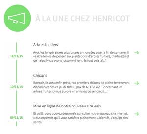 Les Serres Henricot - site web actualités par Pixiwooh!