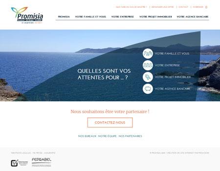 Promisia - site web page d'accueil