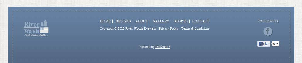 River Woods Eyewear - site web détail pied de page par Pixiwooh!